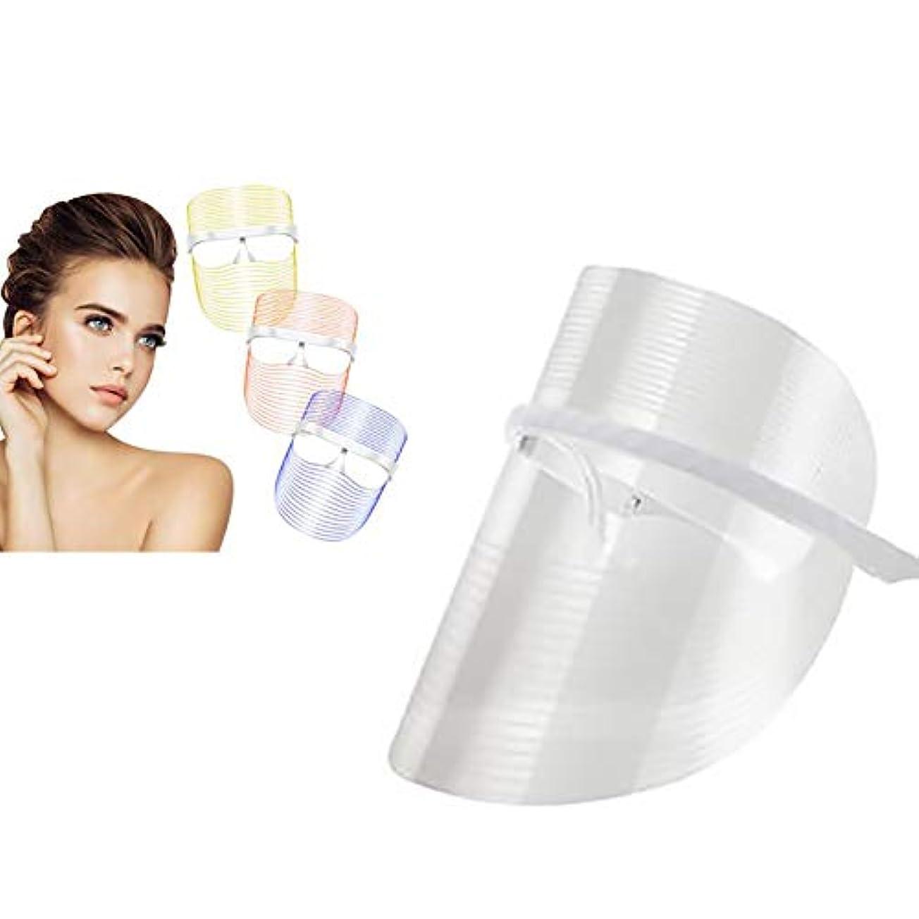多様性騒々しい囚人3色LEDライトセラピーフェイスマスク美容器具フェイシャルスパトリートメントアンチエイジングアンチアクネシワ除去