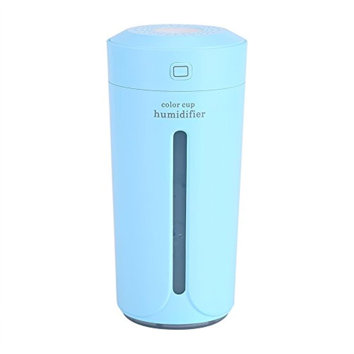 干し草証言するもつれ空気加湿器、携帯用LED USBの空気霧の噴霧器の加湿器の清浄器の家の寝室(青)