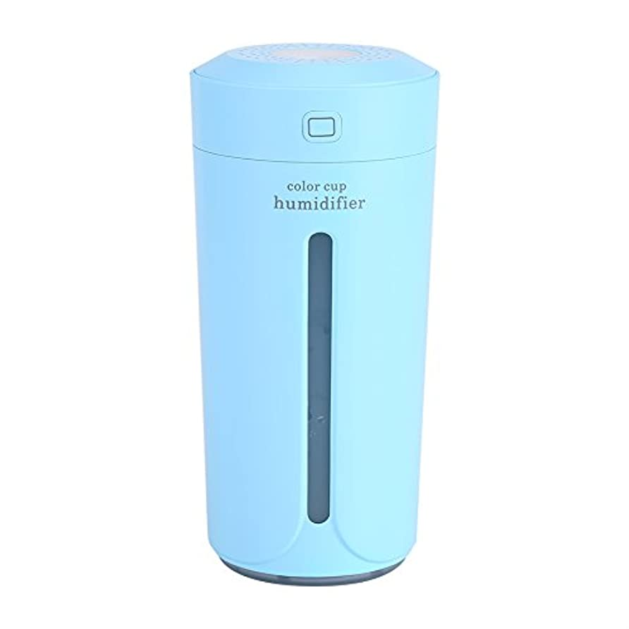 プラスチック小康再び空気加湿器、携帯用LED USBの空気霧の噴霧器の加湿器の清浄器の家の寝室(青)