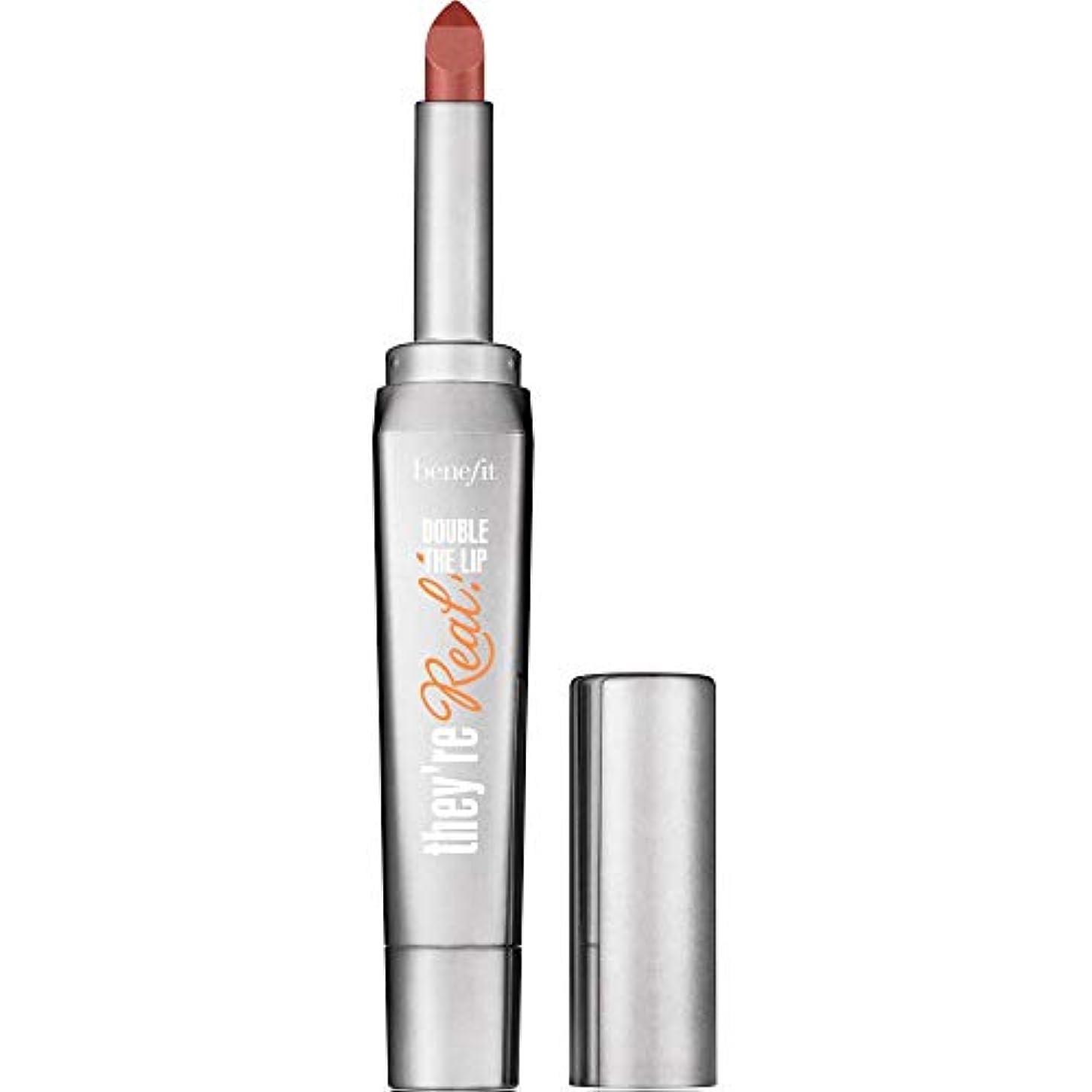 ちょうつがいホーム放棄Benefit Cosmetics They're Real Double The Lip Beyond Sexy Lipstick & Liner In One in Revved Up Red (Cherry Red...