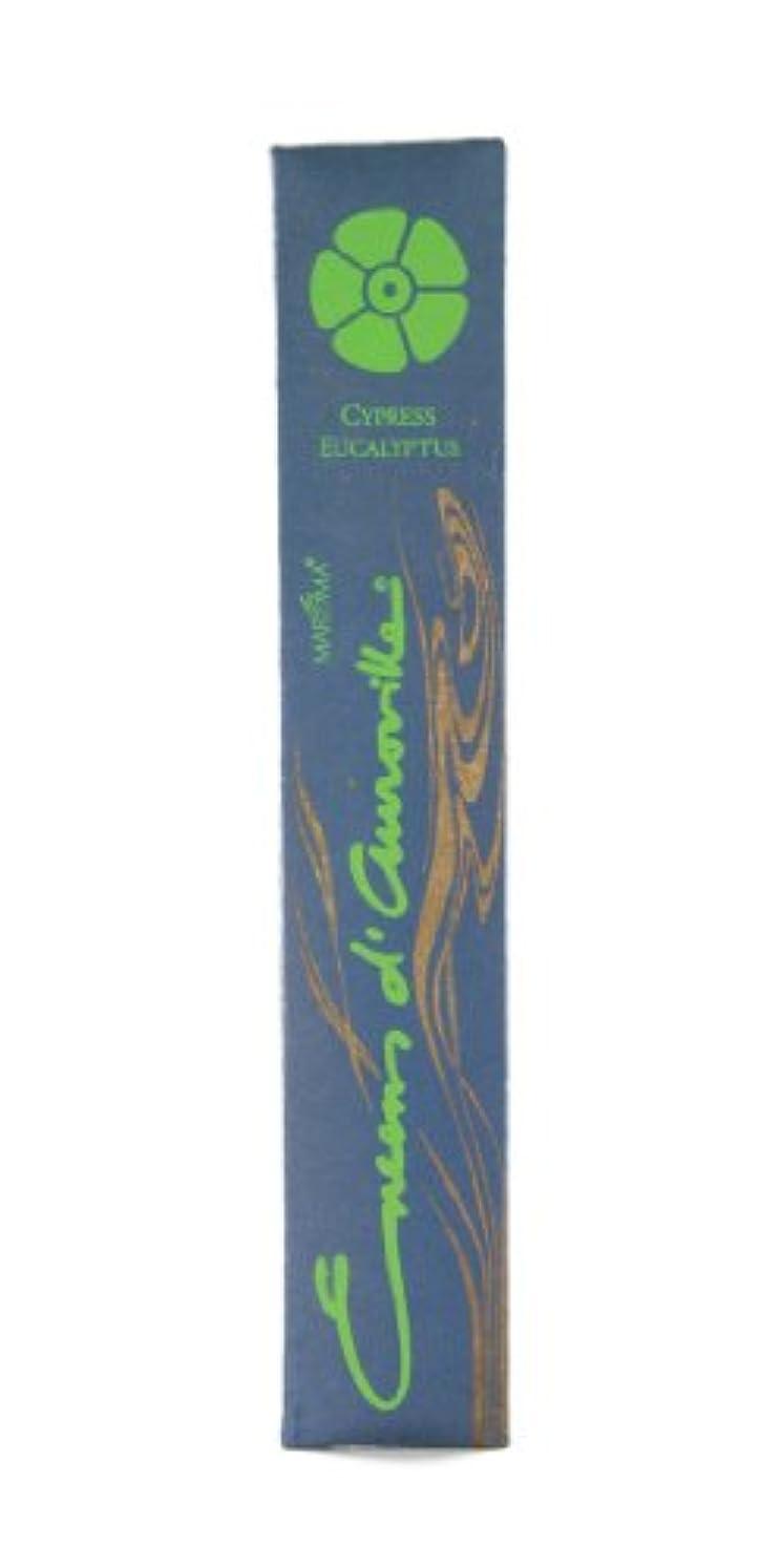情緒的スキルファイバMaroma自然Incense Encens d 'auroville Cypressユーカリ10 Sticks