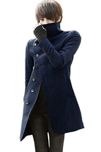 (ケイグラッソ) キレイめ ロング Pコート 英国 スタイル アウター ジャケット メンズ ブラック ネイビー グレー L XL (08.ネイビー2XL (XLサイズ相当))