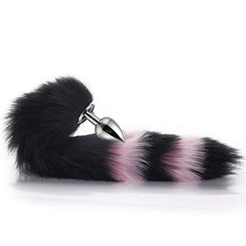『Cos Bell Collar-FluffyB-üttP-l-ǔ-g(Black&Pink)Fox Tail Plush and Multicolor Cat Ears Anime Set for Women Glamour Female Masquerade Props 3pcs Set Massage Cosplay Props (Color : J, Size : L)』の3枚目の画像