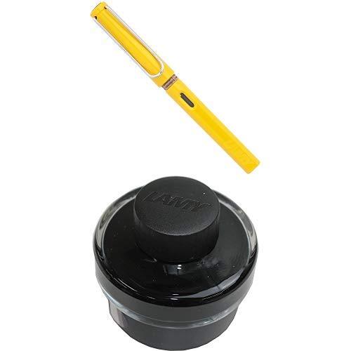 LAMY ラミー 万年筆 ペン先EF(極細字) サファリ イエロー L18-EF 両用式 コンバーター別売 正規輸入品+LAMY ラミー ボトルインク ブラック LT52BK 6個セット 正規輸入品