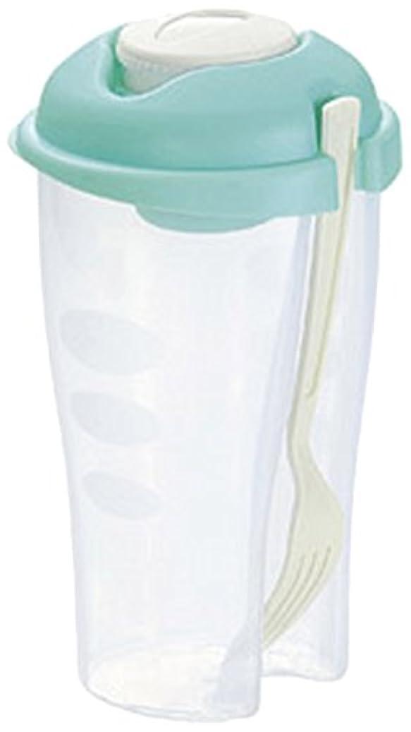 子供っぽいインク沼地ドレッシング が良く混ざる!  サラダ シェーカー 830ml (フォーク&容器&ディップケース)ブルー