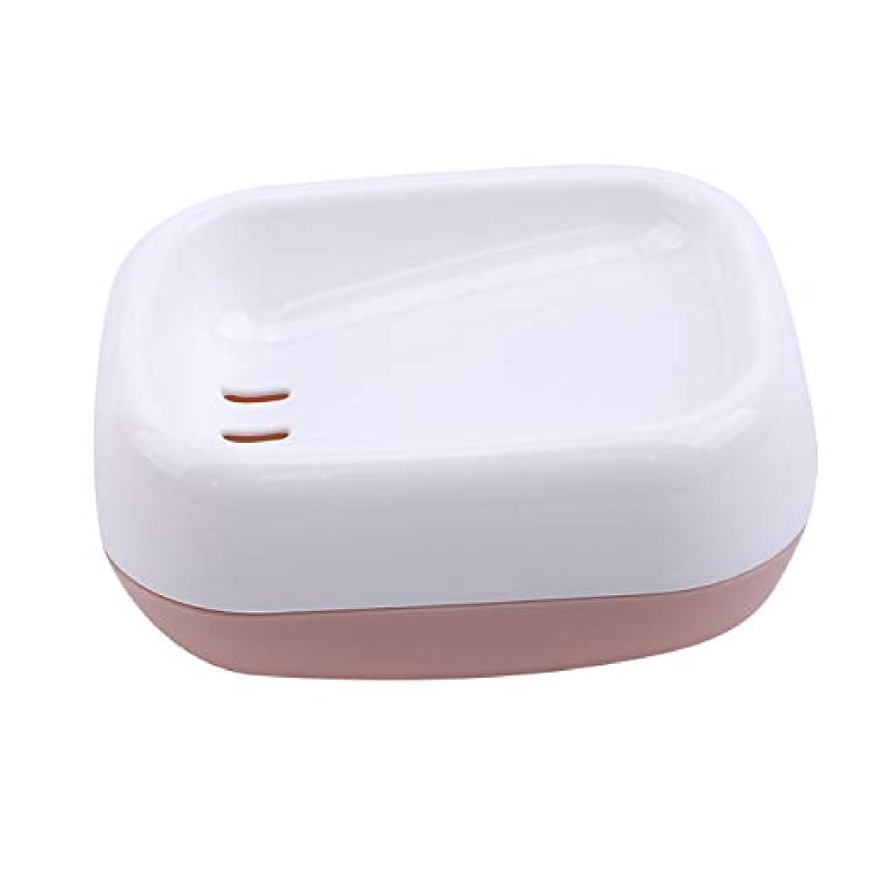 歯科医恵み一元化するZALINGソープディッシュボックス浴室プラスチック二重層衛生的なシンプル排水コンテナソープディッシュピンク