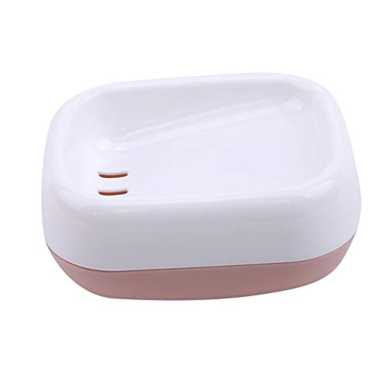 焼くゲインセイスキッパーZALINGソープディッシュボックス浴室プラスチック二重層衛生的なシンプル排水コンテナソープディッシュピンク