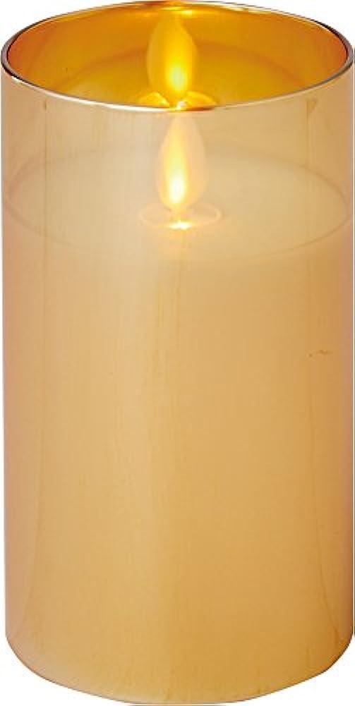 真実下線構成するillumine イルミネシャイングラス入りLEDキャンドルM ゴールド