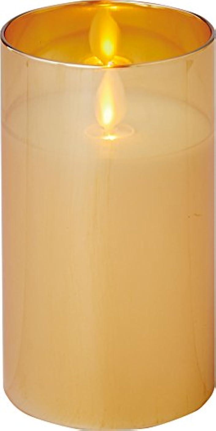 温室人間一人でillumine イルミネシャイングラス入りLEDキャンドルM ゴールド
