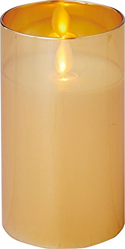繊毛機械的に経営者illumine イルミネシャイングラス入りLEDキャンドルM ゴールド