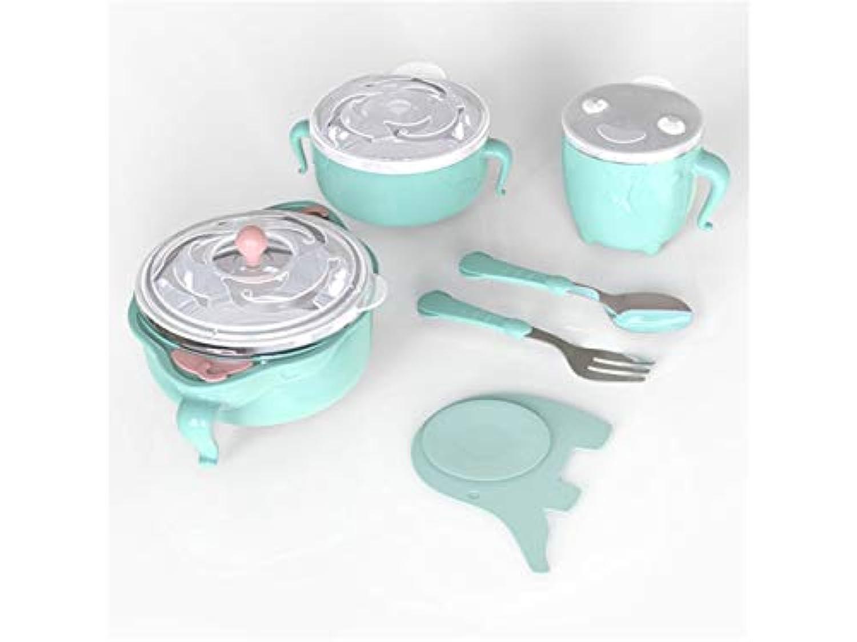 Osize 赤ちゃんの給餌ボウル水注入ボウル反スケルドの子供たちのためのステンレス鋼の子供の料理の断熱ボウルセット(ライトグリーン)
