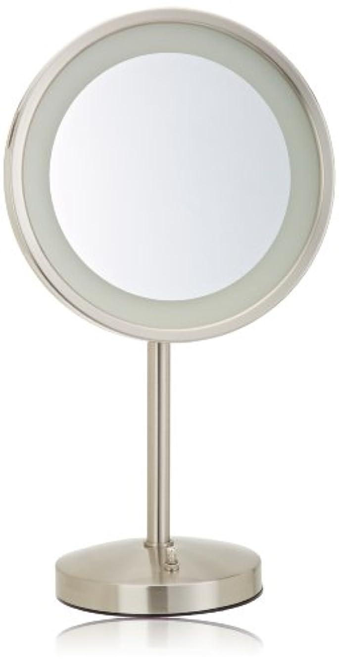 Jerdon(ジェルドン) / HL1015NL (ニッケル) ライト付拡大鏡 [鏡面 直径24cm] 【5倍率】 卓上型テーブルミラー