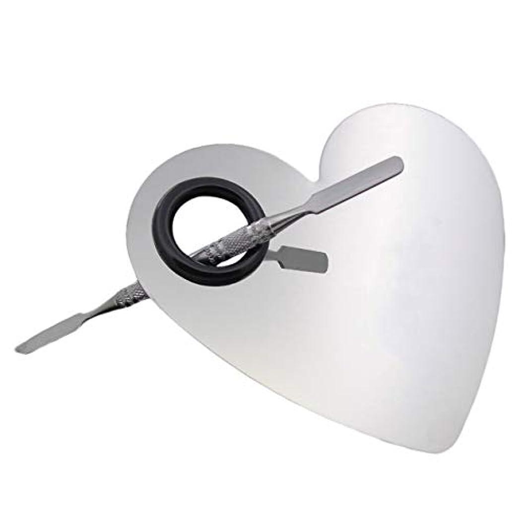 試してみる飛行場ケーキ304ステンレス鋼の新しいハート形メイクネイルパレットセットヘラファッションパレットメイクアップアーティストツール(色:プライマリミラー)