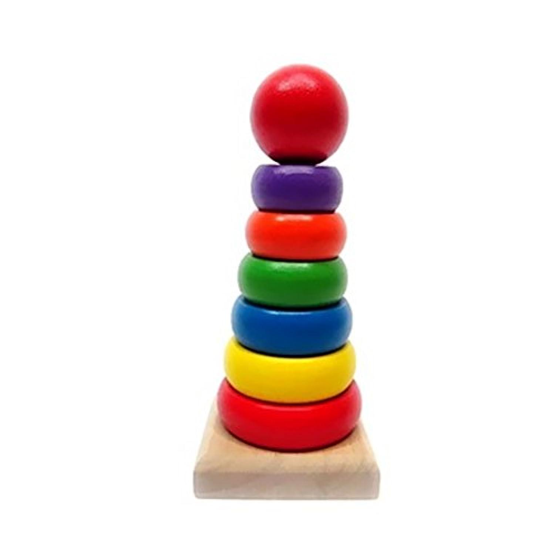 BUYITNOW木製Geometric Stackerレインボーリング色認識教育玩具