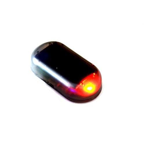 Smilemall 車のソーラーアラーム ダミー セキュリティライト シミュレートされた模倣の警告 アンチ盗難点滅点滅 ランプ赤