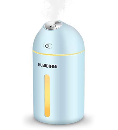 Kungix 加湿器 卓上加湿器 ペットボトル 320ML オフィス 寝室 車載 LEDライト 空焚き防止 水漏れ防止 静か 省エネ 噴霧量2段階調節 噴霧口45° ブルー