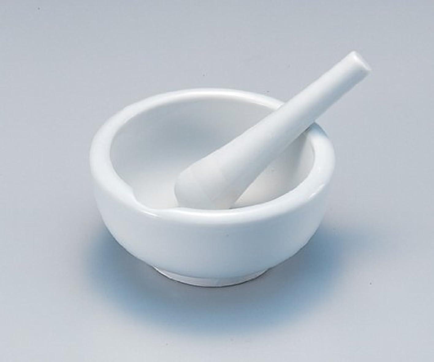 膿瘍ペルメル立場磁製乳鉢 90mm  乳棒付