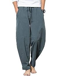 kiden パンツ メンズ サルエル アラジンパンツ リネン 大きいサイズ カジュアル ヒップホップ 九分丈 ワイドパンツ 無地 オールシーズン対応 ズボン ゆったり 通気性