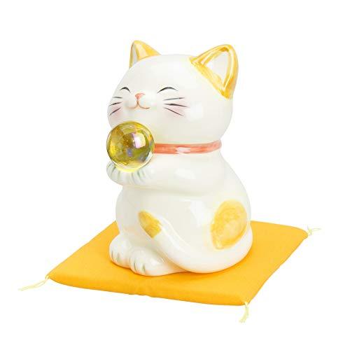 サンアート 開運雑貨 「 金運上昇 」 ハッピーキャット 猫の置物オブジェ 大 イエロー SAN605