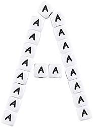 """Mamimami Home 10 Pcs Alphabet Beads 12mm """"A"""" Silicone Beads Square Alphabet Diy Material Handmade Gi"""