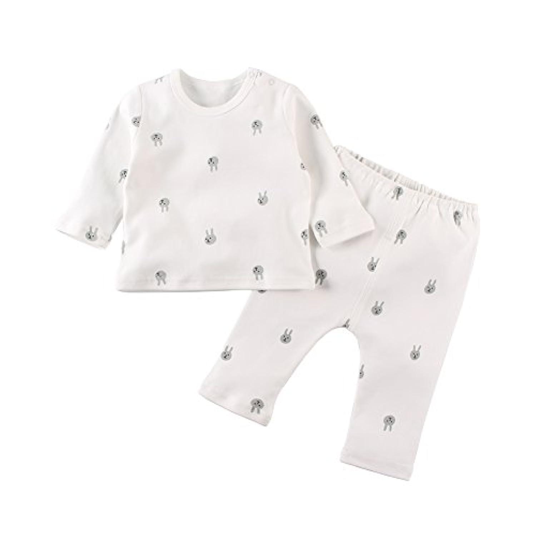 Baby Nest ベビー服 パジャマ 上下2点セット 長袖 赤ちゃん 肌着 女の子 男の子 コットン ウサギ柄 18-24M