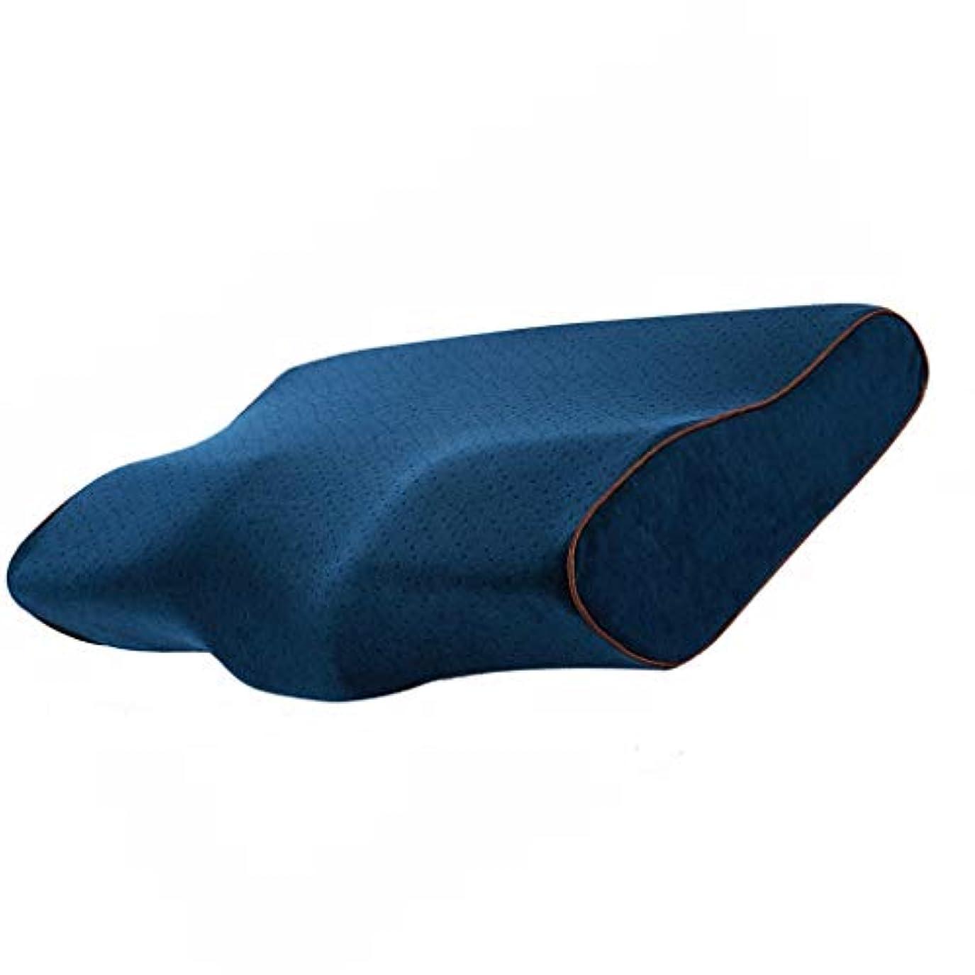 行商人印象的操縦する輪郭の記憶泡の枕、寝具の頚部枕、側面の枕木および後肢の枕、青い2つのサイズ (Size : A)