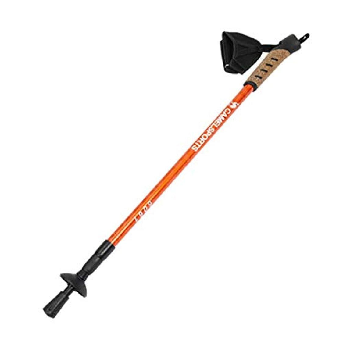 大統領組立うなるJXJJD アウトドアトレッキングポール引き込み式のアルミ合金製のクッション性のあるハイキング登山ストレートハンドル登山杖(オレンジレッド、ゴールデン) (Color : Orange red)