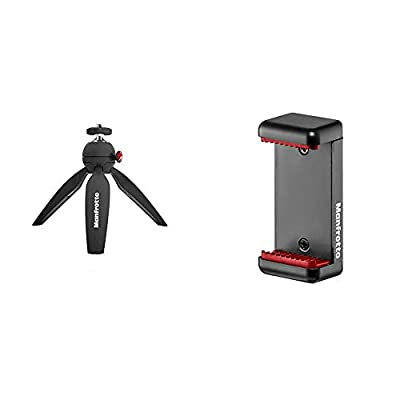Manfrotto ミニ三脚 PIXI ブラック MTPIXI-B カメラ用 & Manfrotto スマートフォン用三脚アダプター MCLAMP