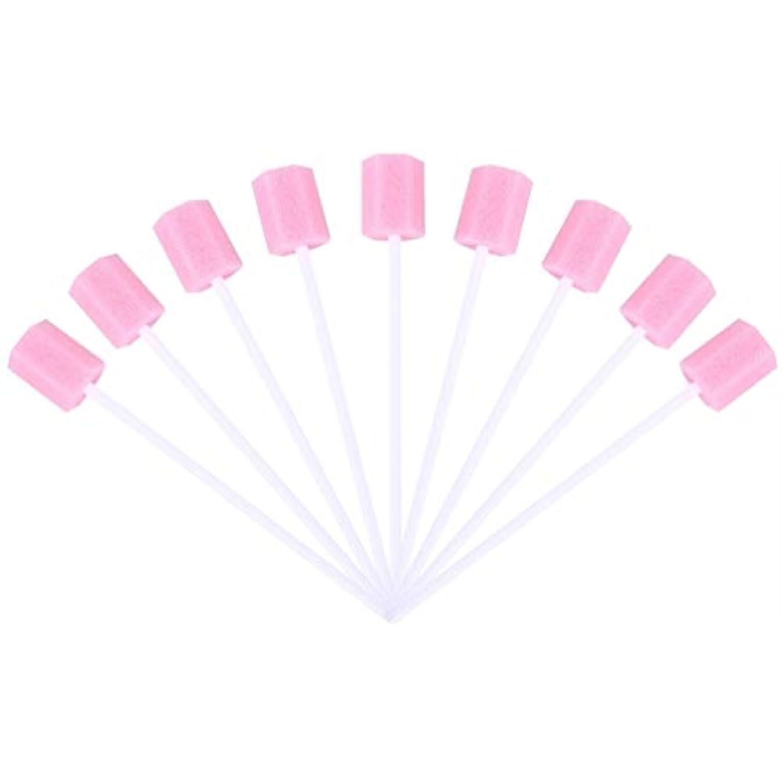 寄託食用意欲SUPVOX 30ピーススポンジ綿棒使い捨て医療スポンジスティック歯口洗浄口腔ケアツール(ピンク)