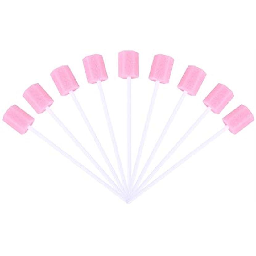 下手テスピアンボアSUPVOX 30ピーススポンジ綿棒使い捨て医療スポンジスティック歯口洗浄口腔ケアツール(ピンク)