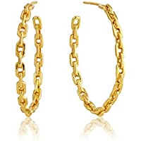 S925 Sterling Silver Big Rope Circle Hoop Link Statement Earrings for Women, White Rhodium