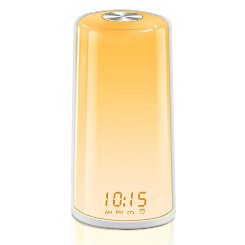 YABAE 光目覚まし時計 光と音 目覚ましライト 大音量 光療法 スヌーズ機能 アラーム タッチ式操作 三段階調光 デジタル 北欧風 白 MY-10