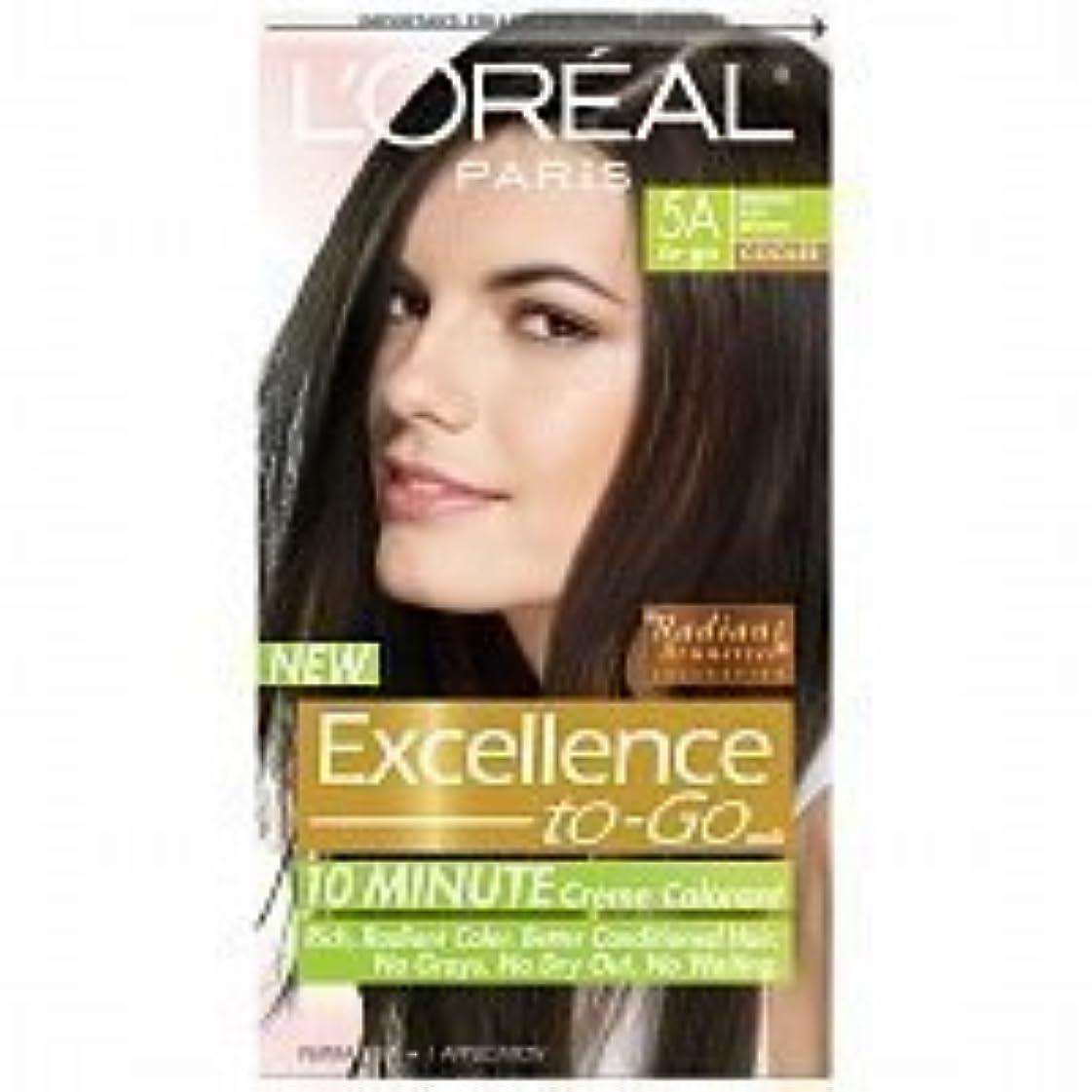 ディスク変換アスレチックL'Oreal Paris Excellence To-Go 10-Minute Cr?N?Nme Coloring, Medium Ash Brown 5A by L'Oreal Paris Hair Color [並行輸入品]