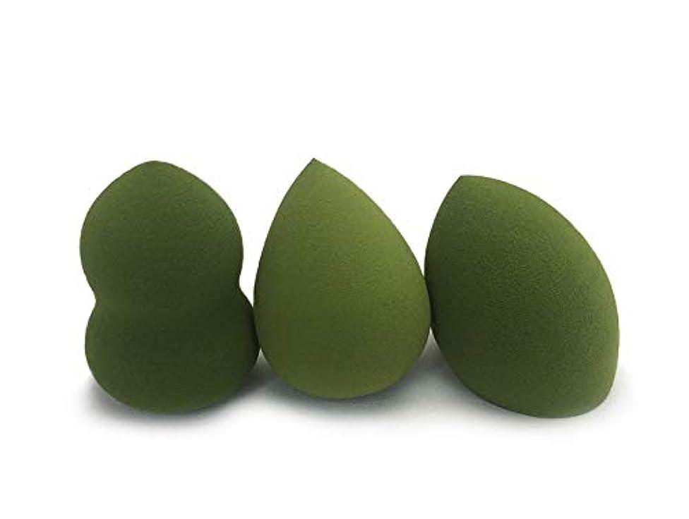 休戦麦芽演じる美容スポンジ、柔らかいひょうたんパフ美容メイクメイクミキサーファンデーションスポンジ3パック (Color : グリンー)