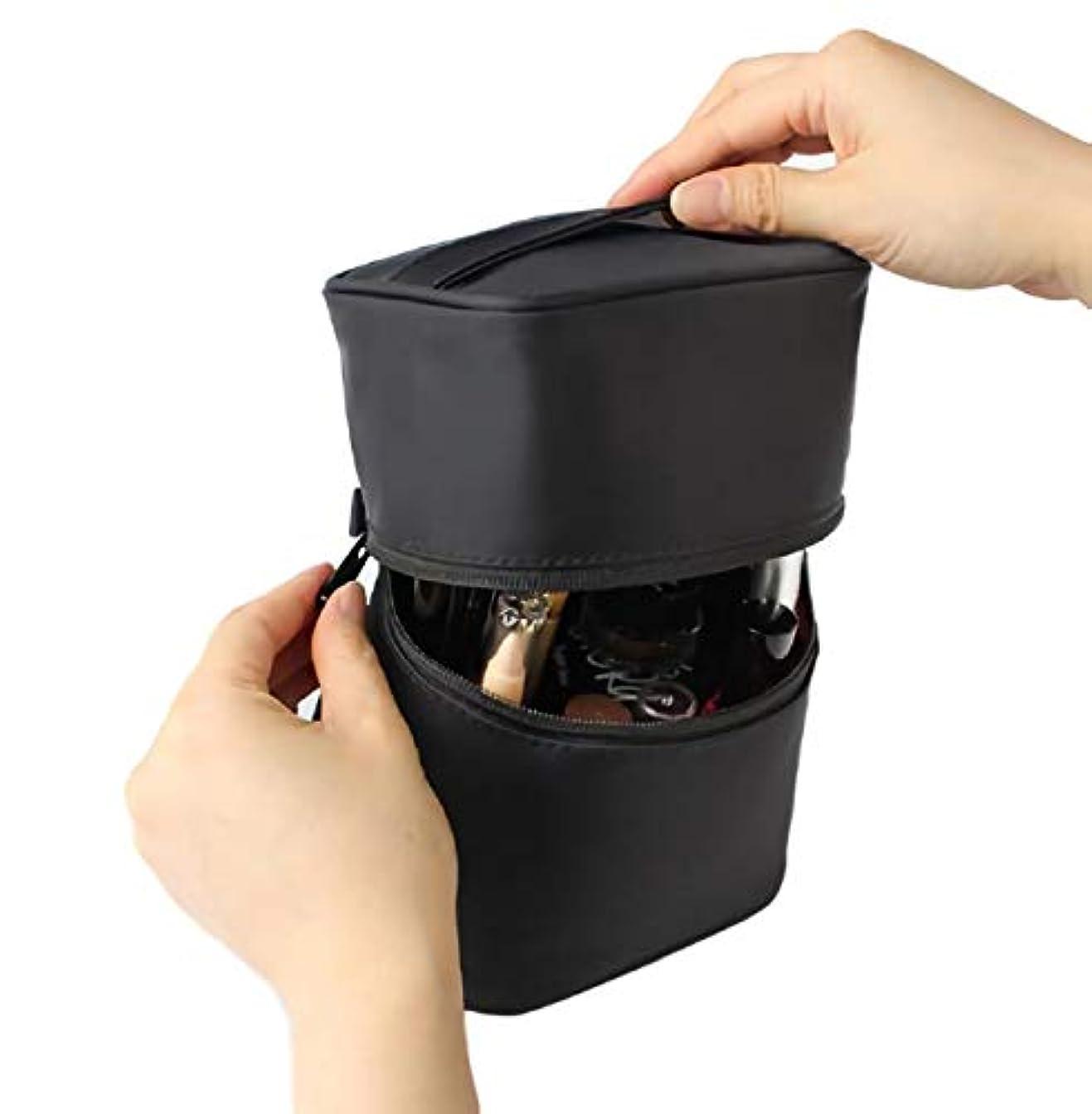 モチーフ真向こうメタリック[ウレギッシュ] コスメボックス 化粧ポーチ コンパクト 仕分け 収納 縦型 メイク バニティーケース 大容量 (ブラック)