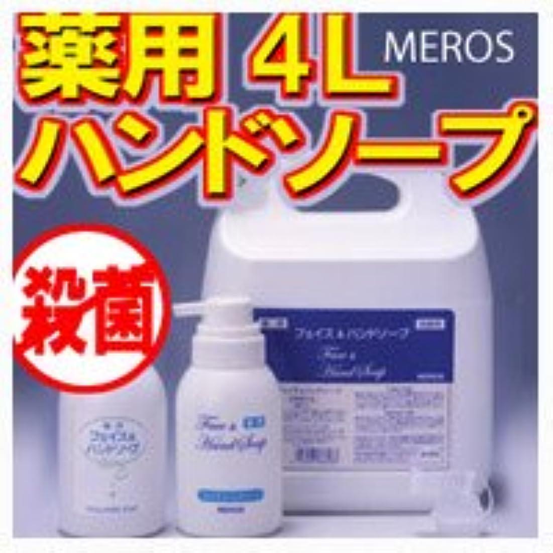 六月計算可能適合するメロス 薬用ハンドソープ 4L 【泡ポンプボトル付き】