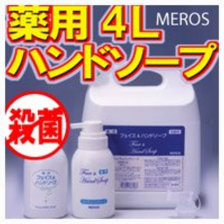バック後退する透けるメロス 薬用ハンドソープ 4L 【泡ポンプボトル付き】