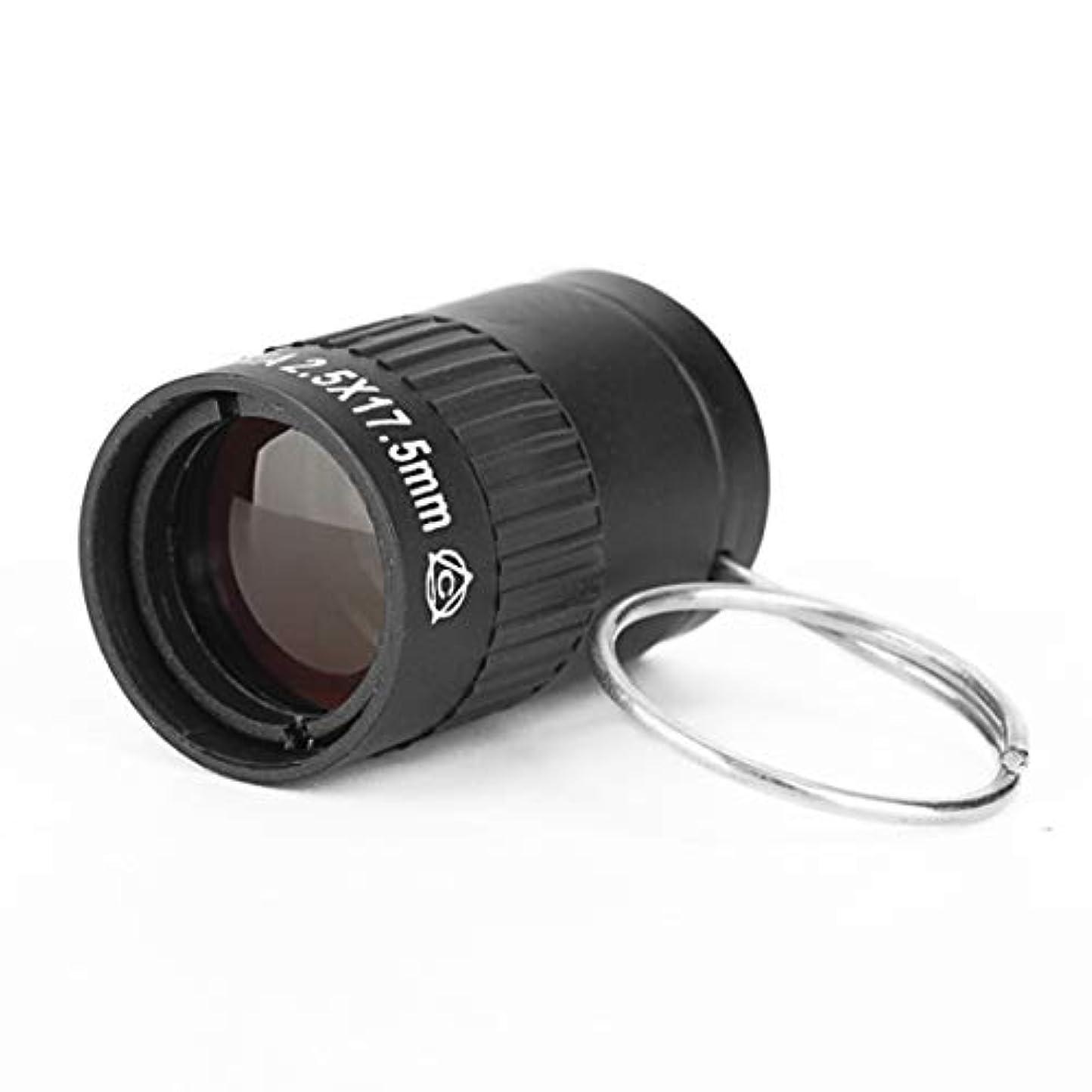 社説あえぎ防ぐ2.5×17.5mm ミニ ポケットミニチュア望遠鏡 指バックル付き (色 : ブラック)