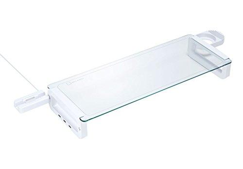 Logitec 机上ラック USBハブ付 ガラス天板 飛散防...
