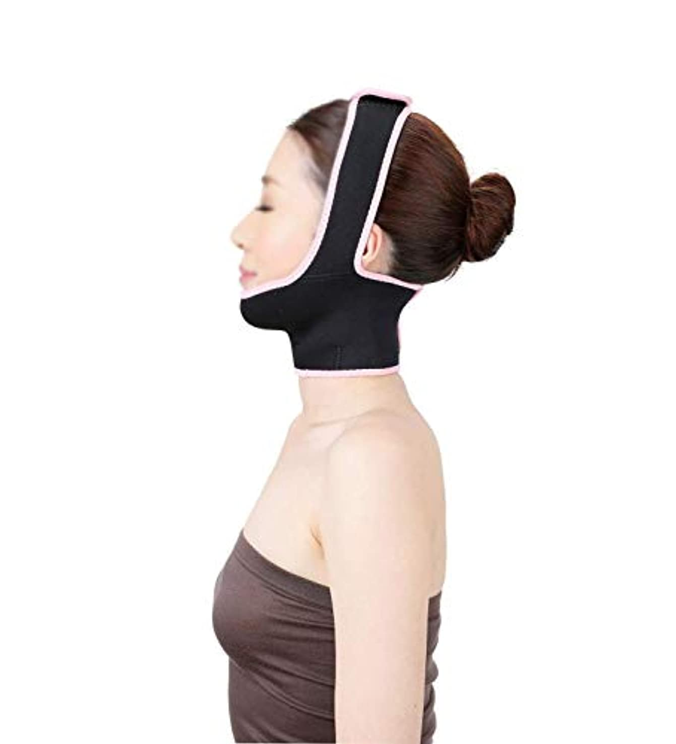電気的エミュレートするレンチフェイスリフトマスク、あごストラップ回復ポスト包帯ヘッドギアフェイスマスク顔薄いフェイスマスクアーティファクト美容顔と首リフトブラックマスク