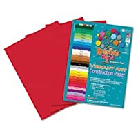 Roselle Heavyweight建設紙、58ポンド。、18x 24、休日レッド、50sheets-pack