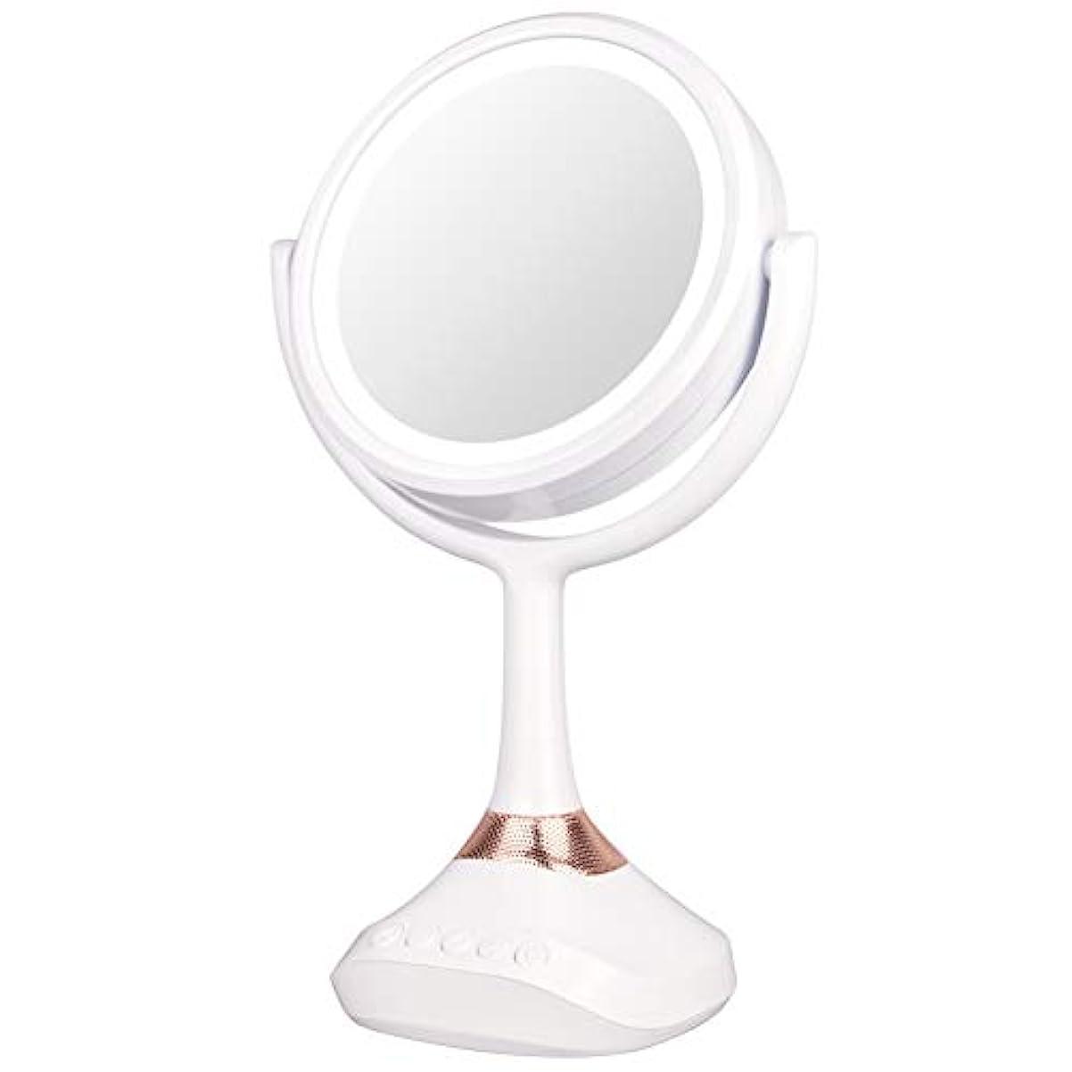 しゃがむ邪魔新鮮なXJZxX ブルートゥースLED音楽ミラー卓上化粧台ミラー付きスピーカー照明付き化粧鏡ライト付き化粧鏡 -美容アクセサリー