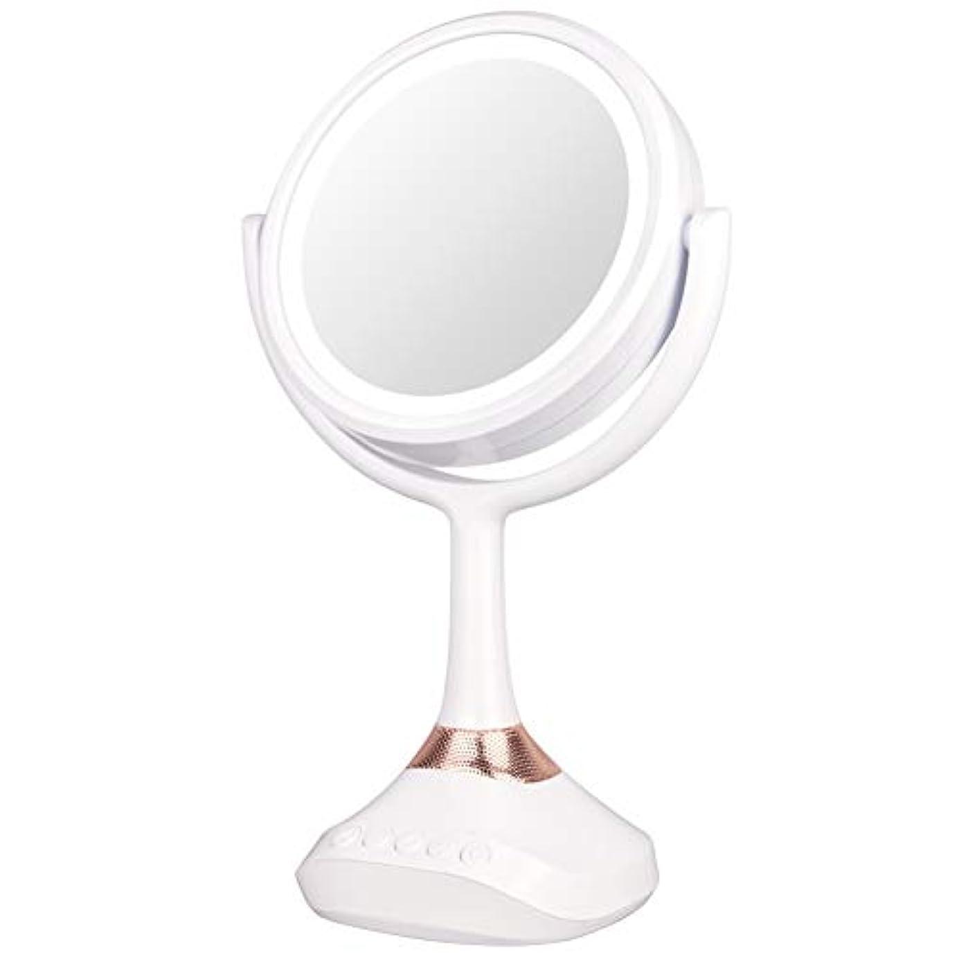 仮説従順乱暴なXJZxX ブルートゥースLED音楽ミラー卓上化粧台ミラー付きスピーカー照明付き化粧鏡ライト付き化粧鏡 -美容アクセサリー