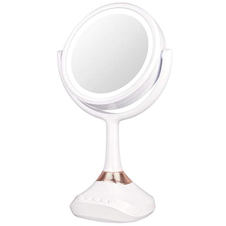 条約雄弁家出席XJZxX ブルートゥースLED音楽ミラー卓上化粧台ミラー付きスピーカー照明付き化粧鏡ライト付き化粧鏡 -美容アクセサリー