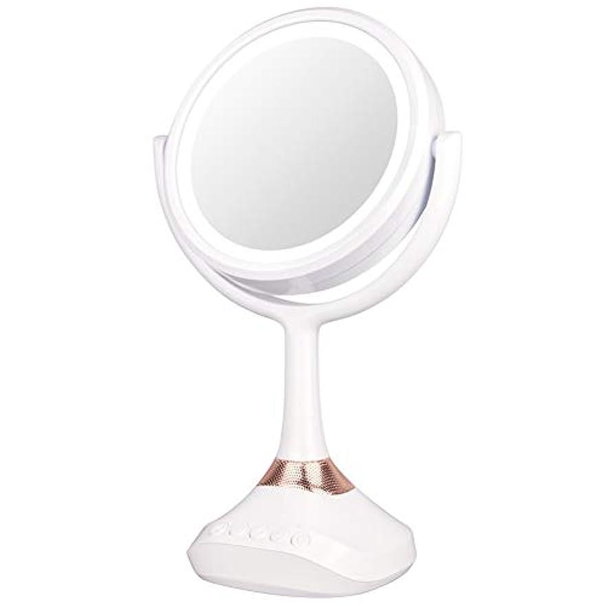 折り目ベッド王朝XJZxX ブルートゥースLED音楽ミラー卓上化粧台ミラー付きスピーカー照明付き化粧鏡ライト付き化粧鏡 -美容アクセサリー