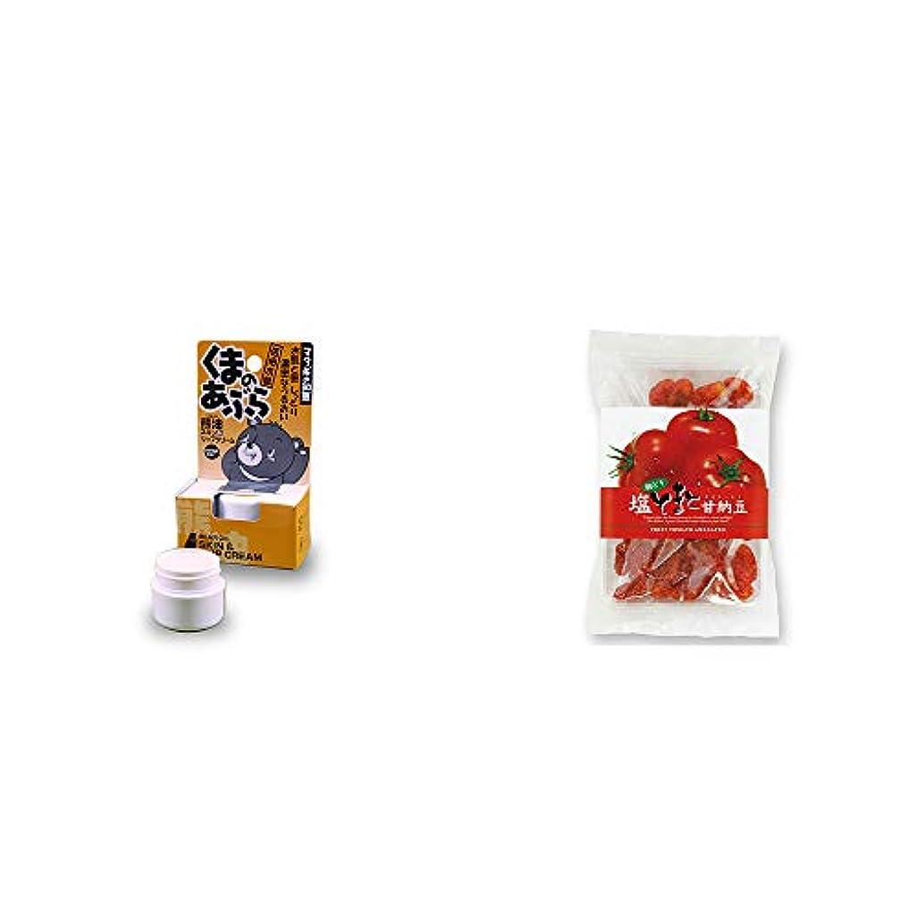 忍耐ハプニング素子[2点セット] 信州木曽 くまのあぶら 熊油スキン&リップクリーム(9g)?朝どり 塩とまと甘納豆(150g)