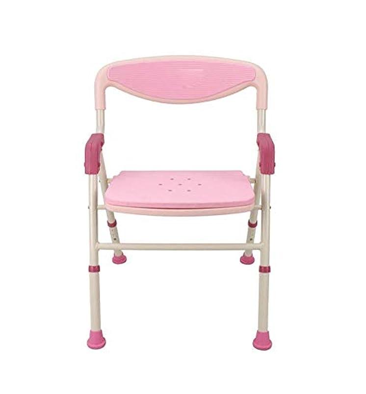 フロンティアイデオロギーリーントイレチェアハンディキャップ用折りたたみ椅子 (Color : ピンク)