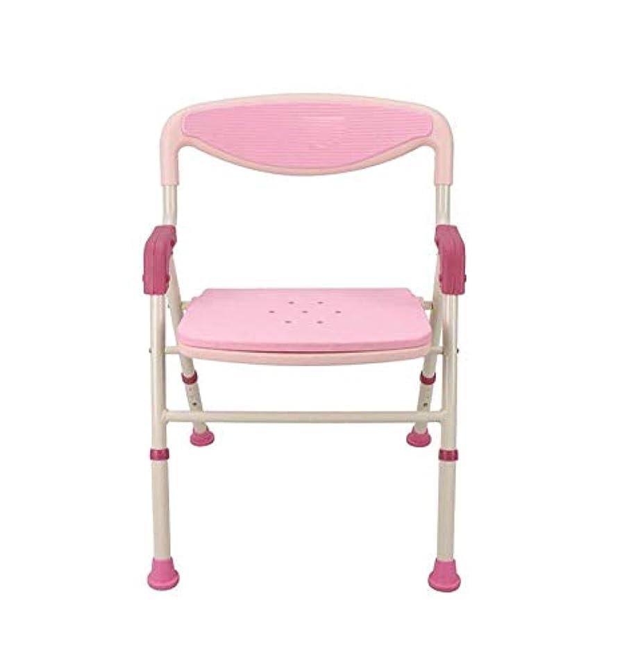未知の普遍的な動機トイレチェアハンディキャップ用折りたたみ椅子 (Color : ピンク)