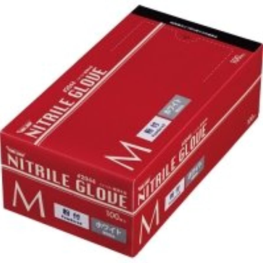 トイレ輸送拮抗する川西工業 ニトリル 使いきり極薄手袋 粉付 ホワイト M 1箱(100枚)
