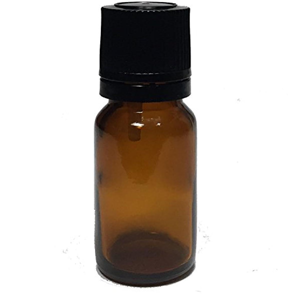 ハンディコンチネンタル額エッセンシャルオイル用茶色遮光瓶 ドロッパー付き 黒キャップ 10ml ガラスビン 10本セット